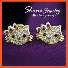 18K GOLD FILLED BABY CAT KITTY LADY GIRLS KIDS SOLID CRYSTAL STUD EARRINGS GIFT