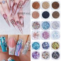 6Boxes/Set Nail Glitter Powder Set Rose Gold Pigment Sequins Nail Art Decoration