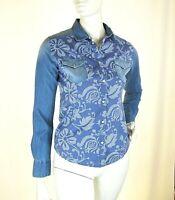 Camicia Jeans Donna RISSKIO Made in Italy H700 Blu Maniche Lunghe Tg XS L