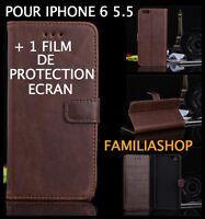 Housse étui pochette coque rabat MARRON simili cuir iphone plus 6 5.5 + 1 film