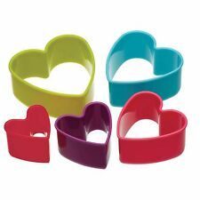 5x Heart Cookie Cutters- KitchenCraft Assorted Size Pastry Children Safe