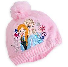 Disney Store FROZEN ANNA & ELSA Fleece Lined Pink Knit Hat Beanie XS/S