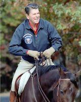 President Ronald Reagan horseback riding at Camp David retreat New 8x10 Photo