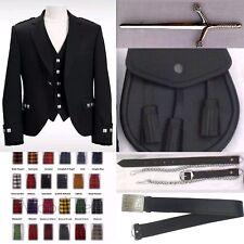 Scottish Men's Argyle Jacket Custom Made 8Yards Kilt Outfit Package 40 Tartans