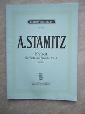 Stamitz Concerto 0p 1 in G major for viola and piano *NEW* Breitkopf 5580