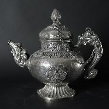Antique late 19 Th. Century Beautifully Crafted Tibetan Copper and Silver Teapot