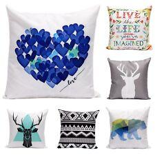 White Linen Cotton Cushion Throw Pillow Covers Retro Quotes Home Decor
