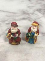 Vintage 1993 Set of 2 SANTA CLAUS Figurine Christmas Holiday Home Decoration