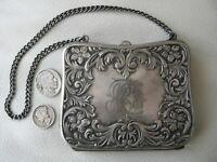 Antique Art Nouveau Floral Leaf Silver Metal Compact Card Case Clam Purse AET