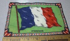 Vintage 1910-1915 Cigar Box Felt silk flag, France, 8 x 5 inch, Beautiful