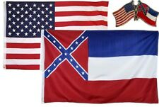 Wholesale Combo Usa & State of Mississippi 3x5 3'x5' Flag & Friendship Lapel Pin