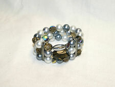 NWT Jewelry - Faceted Glass Bead Faux Pearl Rhinestone Stretch Bracelet