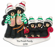 Black Bears in Sled Family of  5 POLYMER CLAY Personalized  Ornament Deb & Co