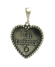 Sterling silver pendant Heart Toi toujours You always solid hallmarked 925