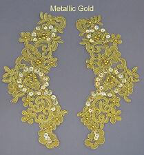 2 X bordado Venise encaje lentejuelas & Con Cuentas De Adorno Motivo Col: Metallic Gold # 3