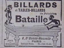 PUBLICITÉ BILLARD ET TABLES-BILLARDS DE PRÉCISION BATAILLE PARIS ANNÉE 1920