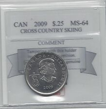 **2009 Cross Country Skiing**, Coin Mart Graded Canadian, 25 Cent, **MS-64**