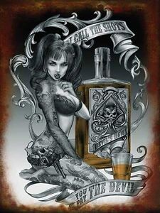 Devil Shots Alchemy Gothic Tattoo Girl Steampunk Pinup Large Metal Tin Sign