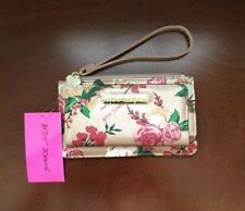 New Betsey Johnsan Women Pink Metalic Roses Floral Double Entry Wristlet Wallet
