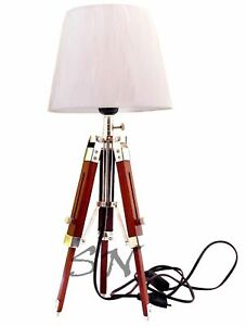 Collectible Nautical Floor Shade Light Lamp Brown Wooden Stand Decor Lamp