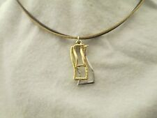 Triple RectanglePendant Two Strand Two Tone 15 Inch Leather Cord Necklace