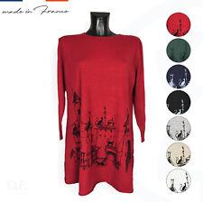 CHERRY BLOOM Paris Strick Pullover Kaschmir Anteil Print Kleid Uni Gr. 42-46