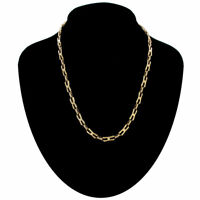 Necklace Vintage Thin Unusual Interlock Link Chain Gold Tone 1980S 18""