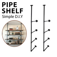 4-Tier Industrial Iron Pipe Shelf Wall Mounted Storage Floating Shelf Bookcase