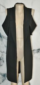 MUSTARD SEED Black Long Open Cold Shoulder Jacket Blazer Small Lined Polyester