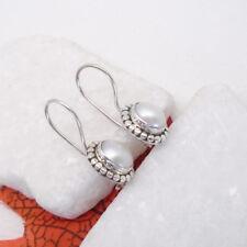 Perle weiß hell Design Haken Ohrringe Ohrhänger Hänger 925 Sterling Silber neu