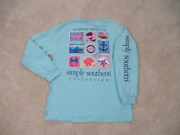 Simply Southern Shirt Womens Large Green Blue Stamps Of The South Ladies *