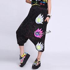 Halloween Women Mixed Colors Sunflower Haroun Pant Punk Hip-hop Harem Trouser
