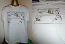 CALVIN AND HOBBES- BRILLIANT SNOW SCENE STRIP PRINT T SHIRT- WHITE- LARGE