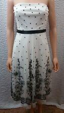 NEW Women BCBG MaxAzria Black White Embroider Polka Dot Floral Strapless Dress 4