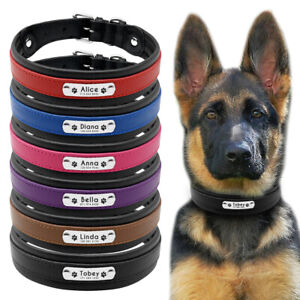 Personalised Dog Collar PU Leather Engraved Name Custom Adjustable M-XL 6 Colour