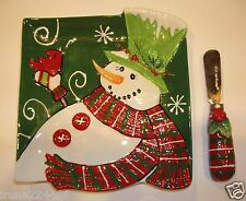 Fitz/Floyd Holly Hat Snowman Snack Appetizer Plate w/spreader 6.25x6.75 NIB