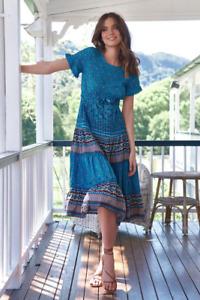 JAASE WOMEN'S JOSELYN MIDI DRESS AQUARIUS VIBRANT BLUE FLORAL PRINT