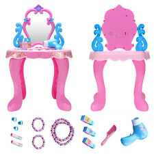 Girl Pink Plastic Children Kids Make-up Mirror Makeup Table Fairy Tales Toy Set