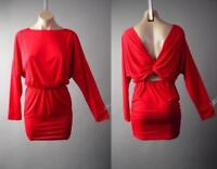 Red Boat Neck Twist Drape Deep V Open Back Club Cocktail Mini 293 mv Dress S M L