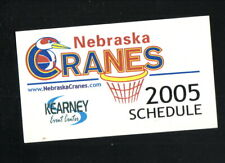 Nebraska Cranes--2005 Pocket Schedule--USBL