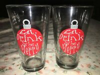 2 Libbey Holiday Eat Drink & Be Merry Christmas Ornament Pint Glass 16oz 5 7/8""
