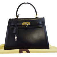 Authentic BALLY Logos Hand Bag Leather Black Gold-tone Made In Italy 69BF229