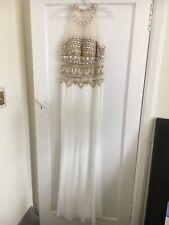 White And Gold Beaded Embellished Jovani Prom Ball Dress Size 10