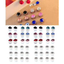 24 Pairs Sparkling Round Crystal Rhinestone Magnetic Earrings For Women Men
