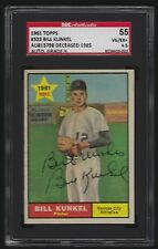 1961 TOPPS BILL KUNKEL #322 AUTHENTIC SIGNED CARD DECEASED 1985 SGC 4.5 AUTO 9