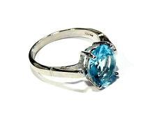 Bijou bague plaqué argent topaze bleu taille 57 ring
