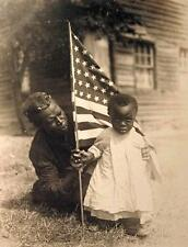 Old Photo.  July 4th - Small African American Girl & Mother - American Flag