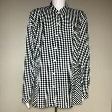 J.Jill Women's XL Button Up Top Gingham Black White Checker Buffalo Plaid