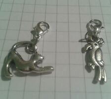 "TIBETAN SILVER 2 CHARMS CURLY TAIL CAT+ PARROT""FOR CHARM BRACELET OR TINY PURSES"