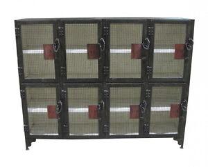 "70"" W Industrial design iron locker cabinet antique steel vintage spectacular"